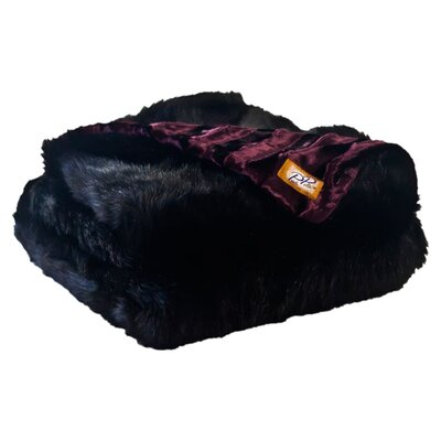 Posh Pelts Black Bear Faux Fur Acrylic Throw Blanket with Velvet-Velour Lining