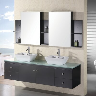 "Design Element Portland 72"" Double Sink Vanity Set"