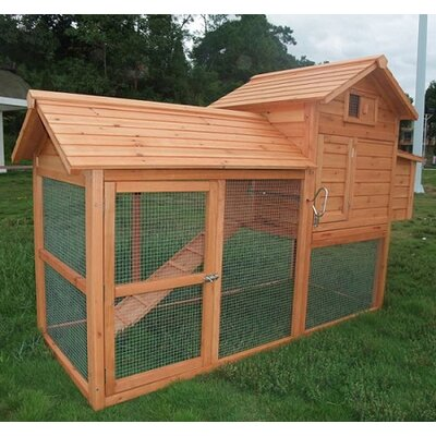 Aosom LLC Large Pawhut Chicken Coop with Hinged Roof and Nesting Box