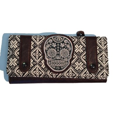 Tweed Sugar Skull Wallet