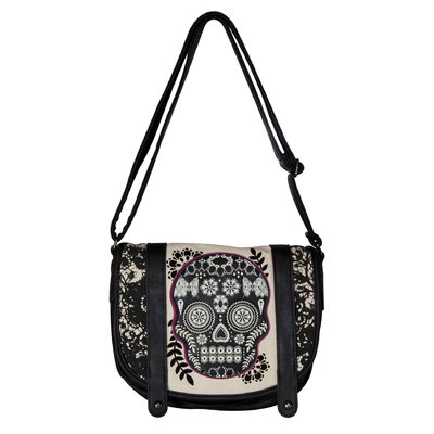 Lace Skull Fuchsia Cross Body Bag
