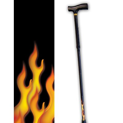 Rebel Canes Flames on Bottom Cane