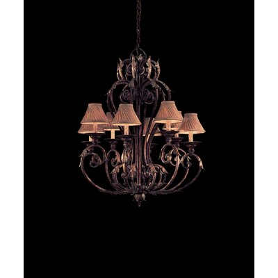 Zaragoza Eight Light Chandelier in Golden Bronze with Optional Shades