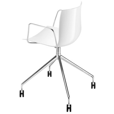 Catifa 46 Polypropylene Armchair with 4-Way Swivel Trestle Base on Castors