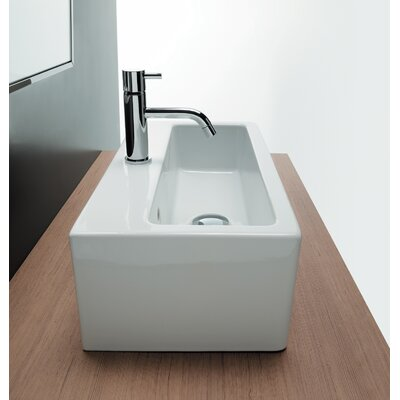 Bissonnet Area Boutique Ice Rectangle Ceramic Bathroom Sink