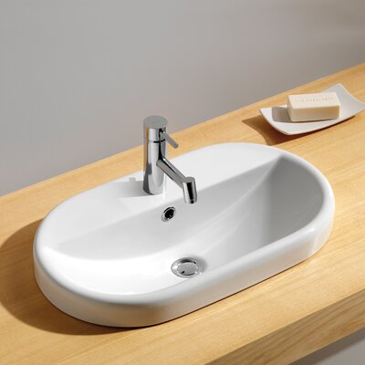 Recessed Bathroom Sink : Bissonnet Traffic Meridian Oval Semi Recessed Bathroom Sink - 118899