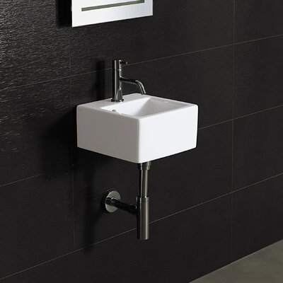 Area boutique ice small square ceramic bathroom sink wayfair for Ceramic bathroom bin