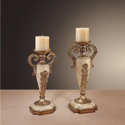Minka Ambience Golden Stone Candlesticks (Set of 2)