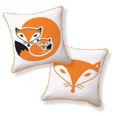 Naked Decor Fox and Her Baby Double Sided Cotton Pillow