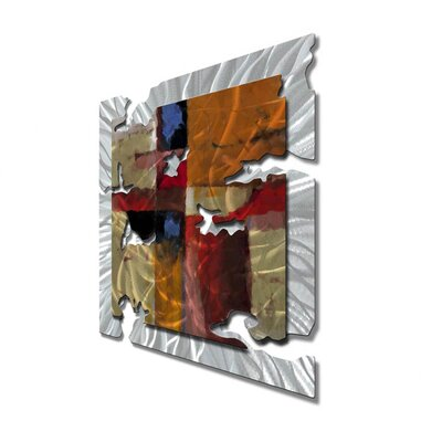 "All My Walls Orange Radiant Relic Abstract Wall Art - 28"" x 28"""
