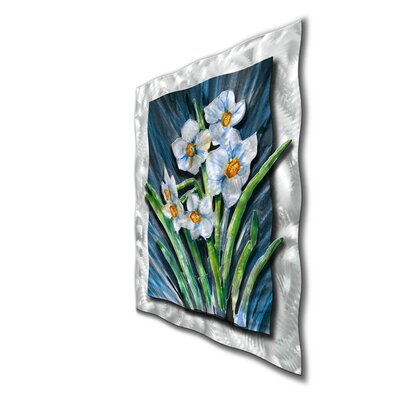 "All My Walls White Daffodils Contemporary Wall Art - 39"" x 31"""