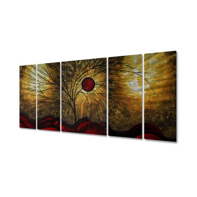 "All My Walls Red Waves by Megan Duncanson, Abstract Wall Art - 23.5"" x 52"""