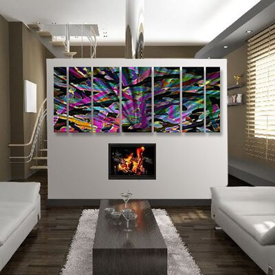 Abstract by Ash Carl Metal Wall Art in Purple and Black - 23.5
