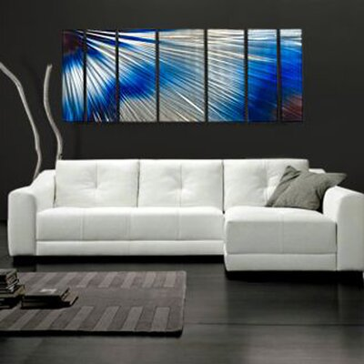 Abstract by Ash Carl Metal Wall Art in Blue and White - 23.5