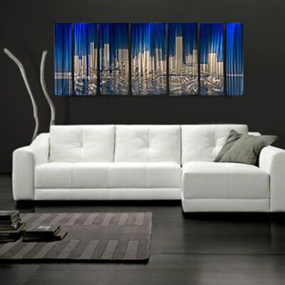Abstract by Ash Carl Metal Wall Art in Blue and Silver - 23.5