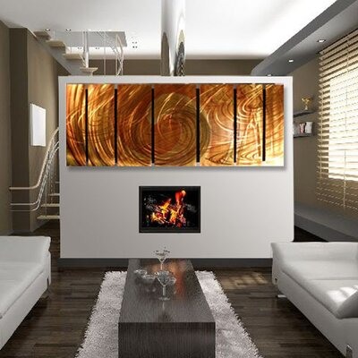"All My Walls Abstract by Ash Carl Metal Wall Art in Burnt Orange - 23.5"" x 60"""