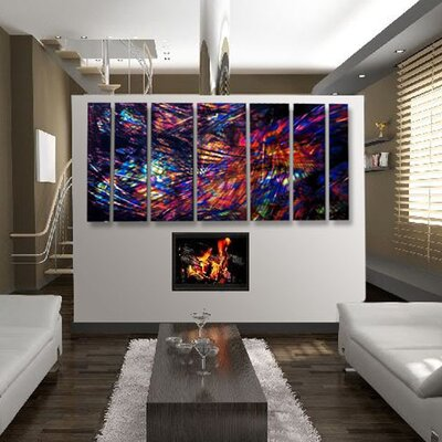 "All My Walls Abstract by Ash Carl Metal Wall Art in Black Multi - 23.5"" x 60"""