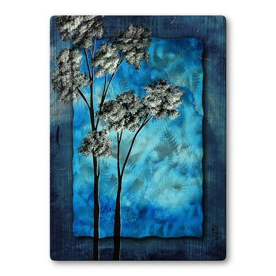 Towering Trees In Blue Sky Metal Wall Sculpture