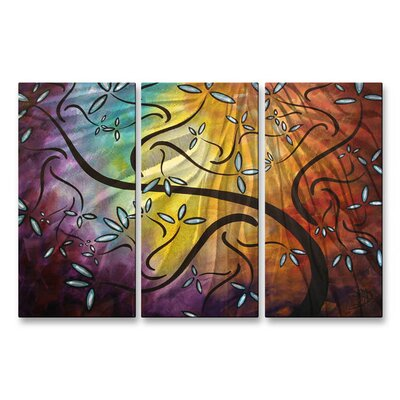 'Sweet Blossoms' by Megan Duncanson 3 Piece Original Painting on Metal Plaque Set