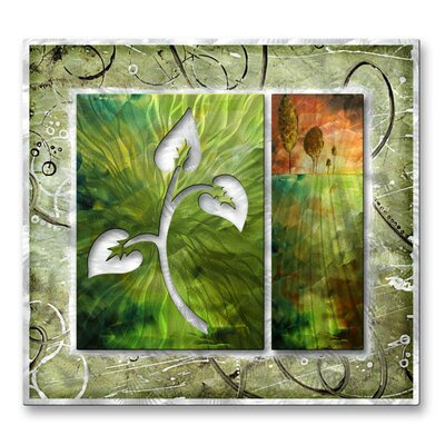 All My Walls 'Branchlet and The Hill' by Megan Duncanson Original Painting on Metal Plaque