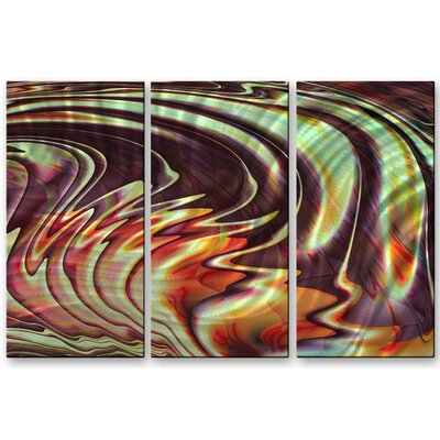 'Fluid' by Victoria Brago 3 Piece Original Painting on Metal Plaque Set