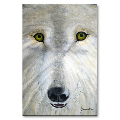 ''White Wolf Face'' Metal Wall Hanging