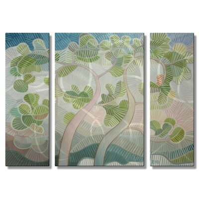'Deuxarbres' by Elohim Sanchez 3 Piece Original Painting on Metal Plaque Set