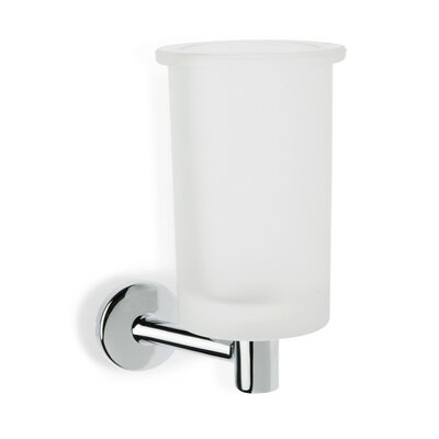 Stilhaus by Nameeks Pegaso Wall Mounted Frosted Glass Toothbrush Holder in Chrome