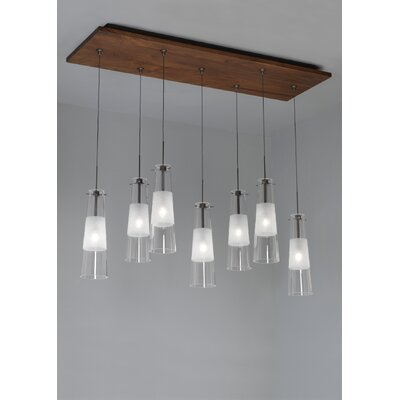 LBL Lighting Fusion Jack Seven Port Wood Rectangle Canopy in Bronze