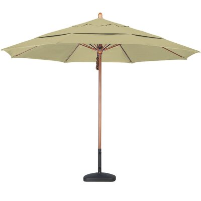 California Umbrella 11' Fiberglass Wood Market Umbrella