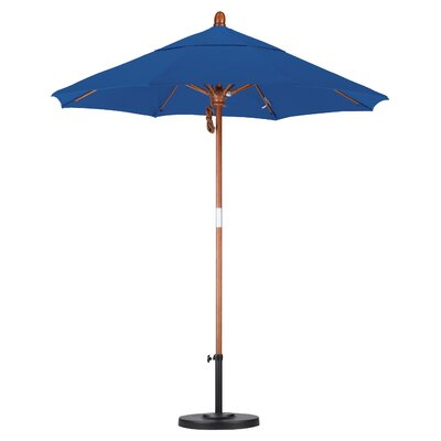 California Umbrella 7.5' Fiberglass Marenti Wood Market Umbrella