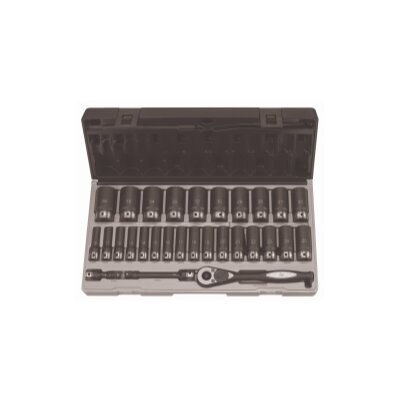 "Grey Pneumatic 1/2"""" Dr. 29Pc Metric Deep Duo-Socket Set - 6 Pt."