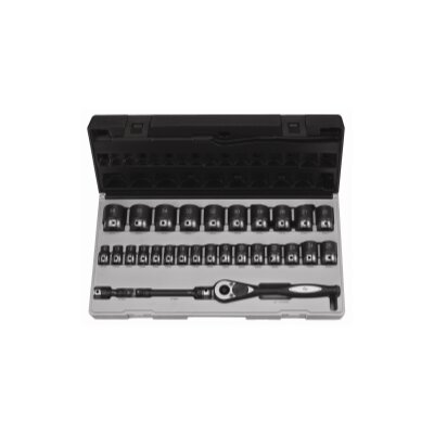 "Grey Pneumatic 1/2"""" Dr. 29Pc Metric Duo-Socket Set - 6 Pt."