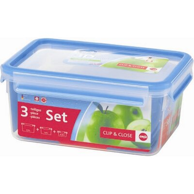 Frieling Emsa 3D Food Storage 3 Piece Clip and Close Container Set