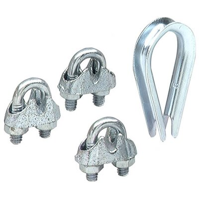 "Lehigh Group 1/4"" & 3/8"" Wire Rope Thimble & Clamp Set 7300W-P"