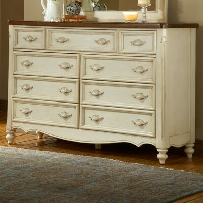 American Woodcrafters Chateau Triple 9 Drawer Dresser