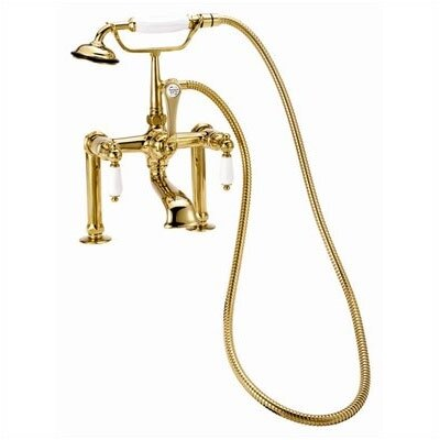 "Elizabethan Classics Deck Mount Tub Faucet with Hand Shower and Porcelain Lever Handles for 6"" Risers"