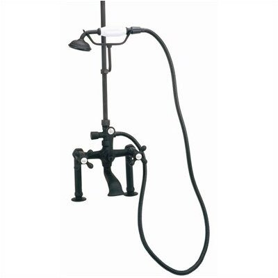 Elizabethan Classics Deck Mount Tub Faucet with Hand Shower and Metal Cross Handles