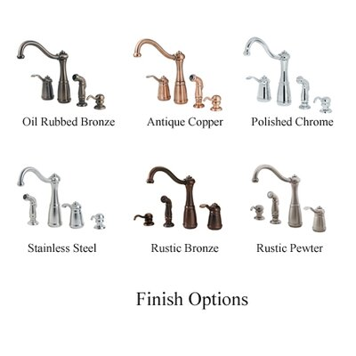 Price Pfister Marielle One Handle Widespread Kitchen Faucet with Side Spray and Soap Dispenser