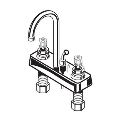American Standard Heritage Two Handles Centerset Kitchen Faucet with Brass Wrist Blade Handles and Grid Drain
