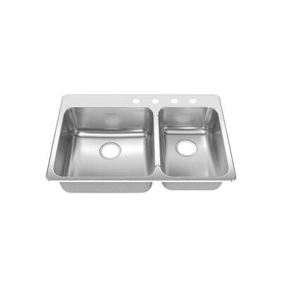 "American Standard Stainless Steel Drop-In 33.38 x 22"" Double Combination with Small Bowl kitchen sink"