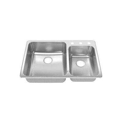 American Standard Stainless Steel Drop-In 33.38 X 22&quot; Double Combination Bowl kitchen sink in Brushed Stainless Steel