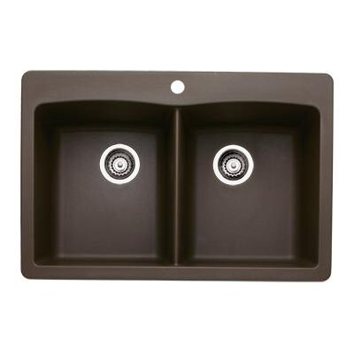 "Blanco Diamond 33"" x 22"" Double Bowl Drop-in Kitchen Sink"