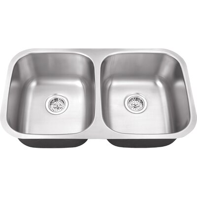"Schon 29.5"" x 16.5"" Double Bowl 18 Gauge Kitchen Sink"