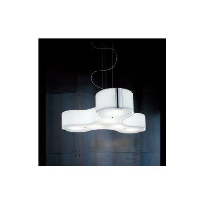 Studio Italia Design Tris 3 Light Compact Fluorescent Medium Pendant in Blown Glass with Sides