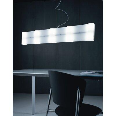 Studio Italia Design Surf 10 Light Large Rectangular Kitchen Island Pendant with Custom Blown Glass Diffusers