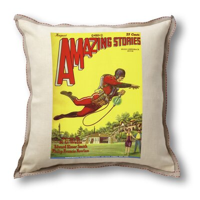 Museum of Robots Classic Sci-fi Illustration Amazing Stories Pillow Cover - Rocket Man