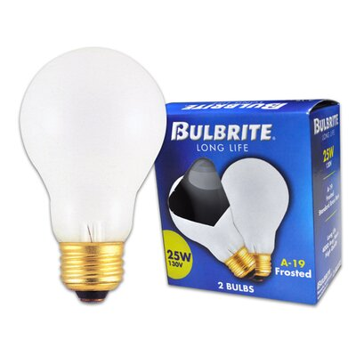 Bulbrite Industries 25W Long Life General Service Standard A19 Incandescent Bulb in Frost (Pack of 2)