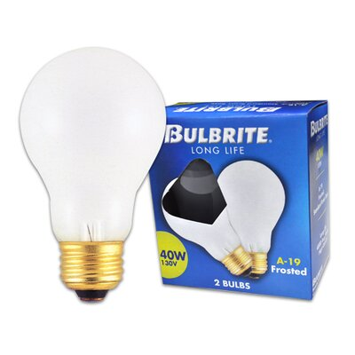 Bulbrite Industries 40W Long Life General Service Standard A19 Incandescent Bulb in Frost (Pack of 2)