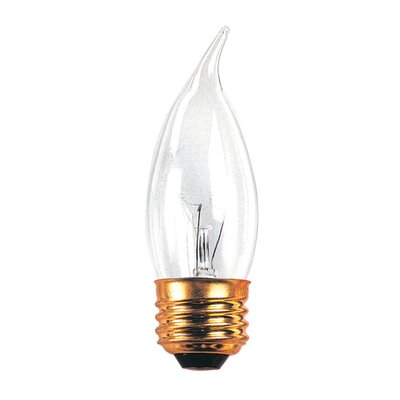 Bulbrite Industries 60W Incandescent Flame Tip Chandelier Bulb with E26 Base in Clear